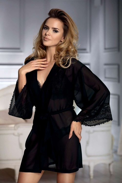 Dressing gown in chiffon fabric with lace