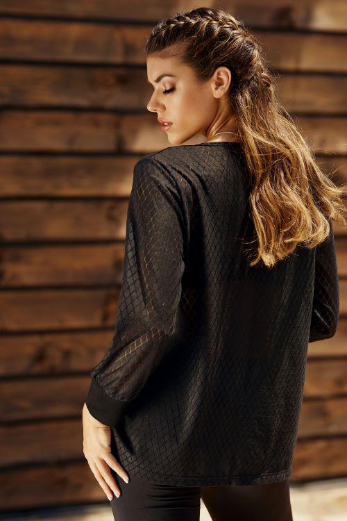 Μπλούζα με δαντέλα στην πλάτη και μανίκια και ύφασμα ζορζέτα
