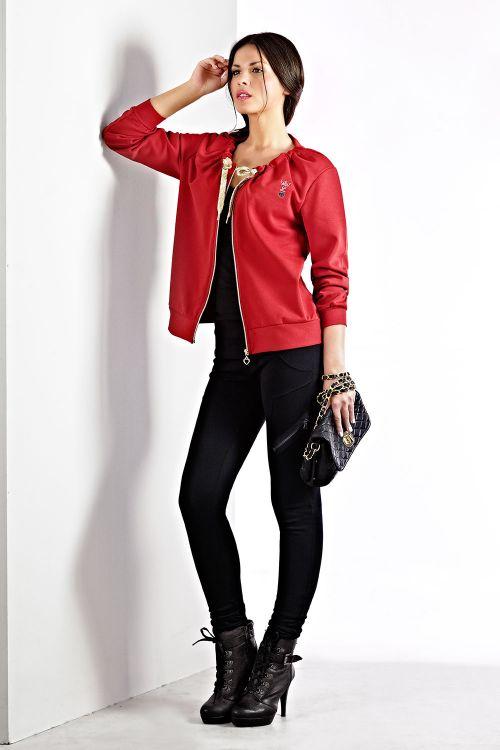 Παντελόνι κολλητό σε βαμβακερό φούτερ με διακοσμητικό φερμουάρ