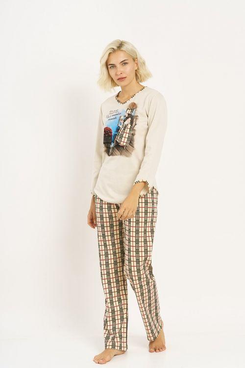 Πυτζάμα σετ με τύπωμα , καρό παντελόνι σε ίσια γραμμή.