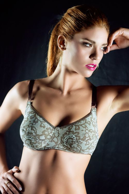 No underwire bra with an elastic print fabric.