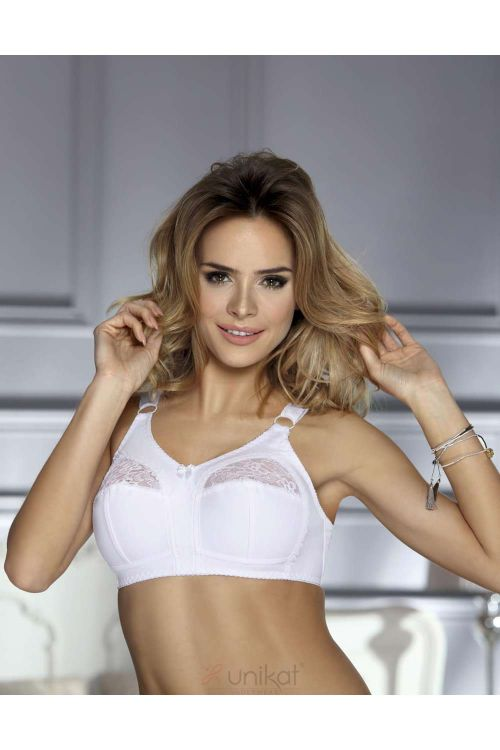Bra without underwire with steady fabric and lace