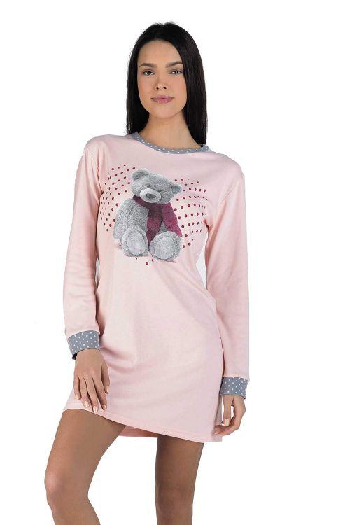 Xειμωνιάτικο ροζ mini νυχτικό με αρκουδάκι